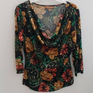 ❤ELLEN TRACY FLORAL/FLOWER PRINT FLOWY TOP